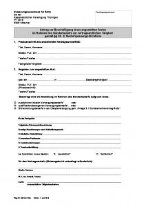Antrag Beschäftigung angestellter Arzt-Sonderbedarf