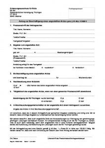 Antrag Beschäftigung angestellter Arzt