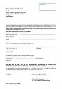 Antrag Umwandlung genehmigte Anstellung in Zulassung
